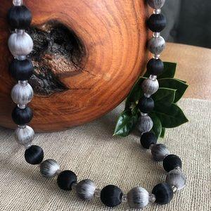 Vintage Silk Wrap Black & Silver Beaded Necklace